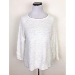 Lou & Grey Fuzzy Eyelash Off White Sweater XS